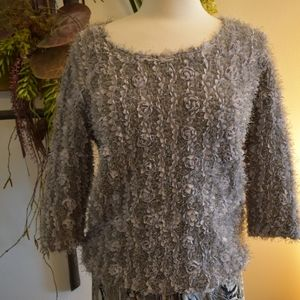 Vintage sweater Lilly of California gray florets